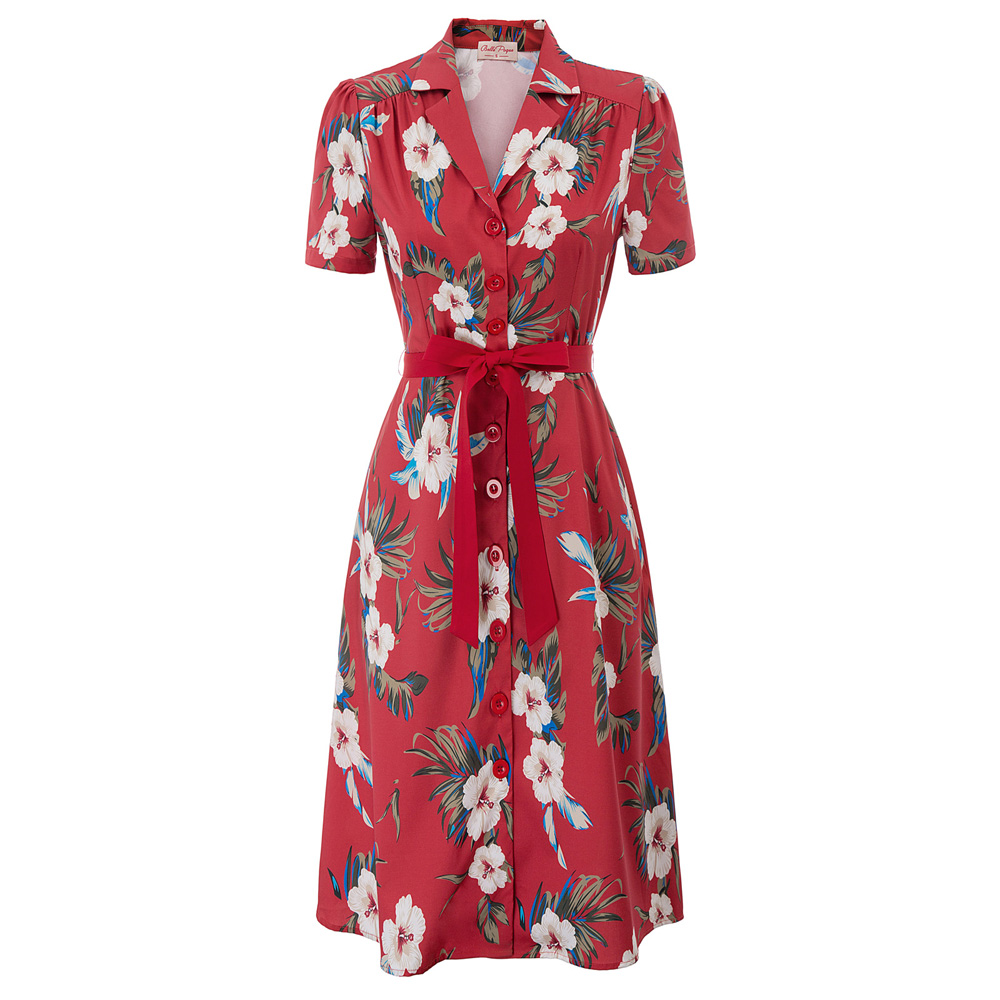 Vintage Floral Pattern Dress Women Ladies Beach Holiday Wear Short Sleeve Lapel Collar Belt Decorated Knee A-Line Dress Vestidos