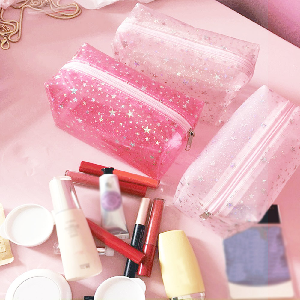 Travel Clear Star PVC Cosmetic Bags Women Men Transparent Zipper Makeup Bags Organizer Beauty Make Up Bath Wash Handbag Case Bag