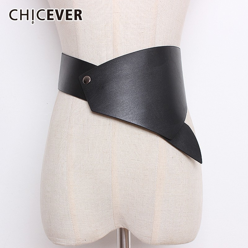 CHICEVER Irregular PU Leather Belts For Women Casual Fashion High Waist Lady's Belt Female Dress Accessories Autumn Vintage Tide