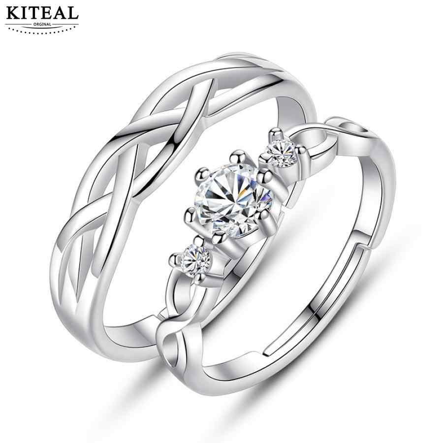 KITEAL Nova Venda 925 jóias de prata anel de Casal para as mulheres anéis de casamento anel de zircão define anéis presente do Dia Dos Namorados