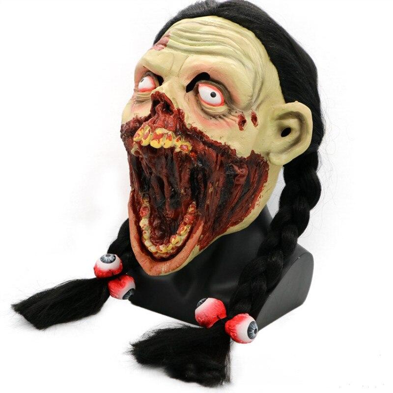 Women Zombie Mask devil Terror Latex Scary Skull Horror Masks Parasite decay Vampire full face halloween Female party maske
