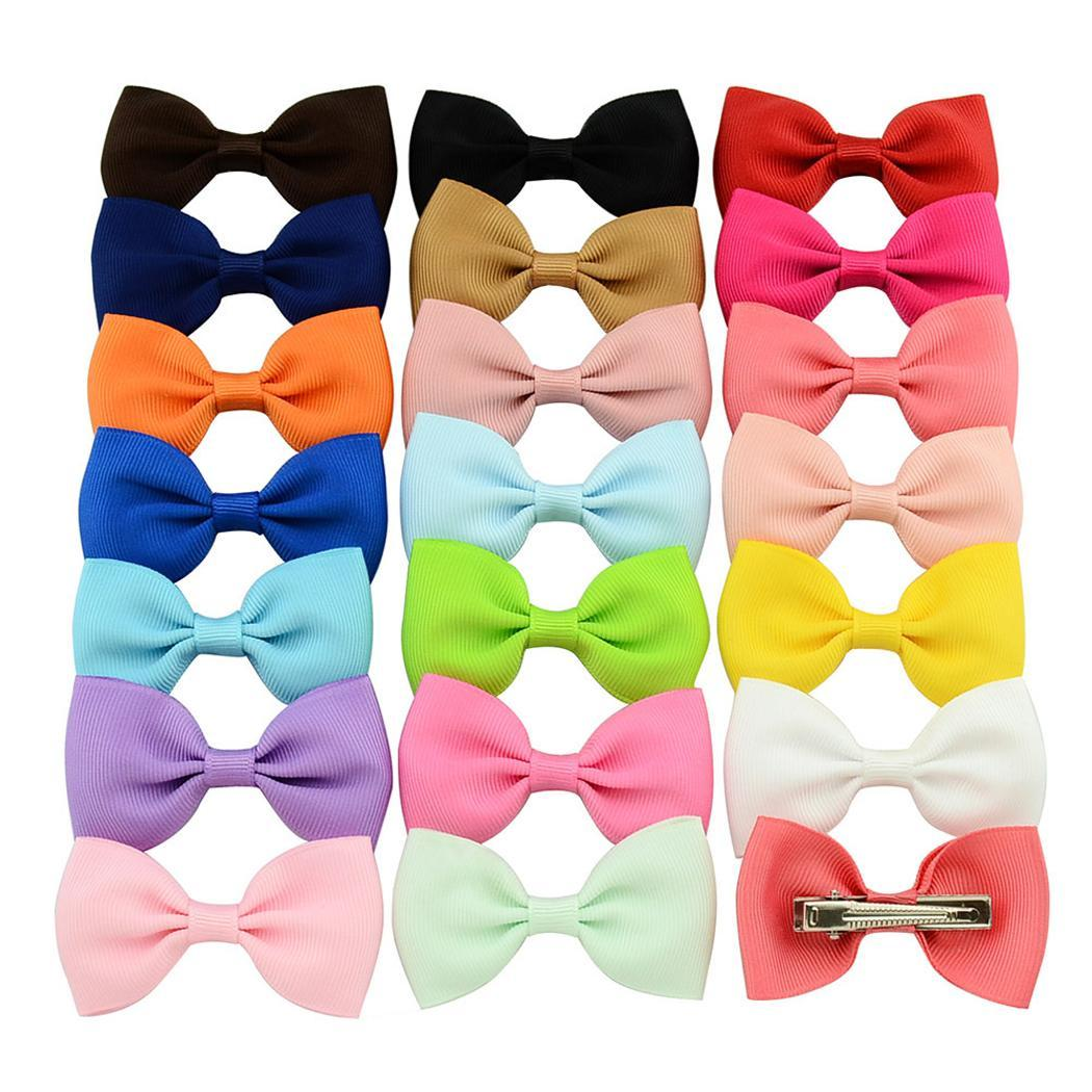 20 Pcs/Set Kids Fashion Casual Cute Headwear Duckbill Clip Bow Color Mixed Pack Bow Hair Clip Set. Hair Clip