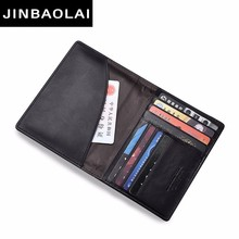 JINBAOLAI Leather Passport Cover ID Business Card Holder Travel Credit Wallet For Men Purse Case Driving License Bag Thin Wallet rfid card case leather passport cover id business card holder travel credit wallet for men women passport holder purse