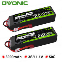 2 Packs OVONIC 8000mAh 50C Lipo 3S Batteries 11.1V Deans Plug for 1/8 Size RC Car Truck Quad Helicopter Drone Boat gens ace 4s 6750mah lipo 14 8v battery pack 70c xt90 t plug for traxxas x maxx 1 8 car lipo batteria quad drone boat