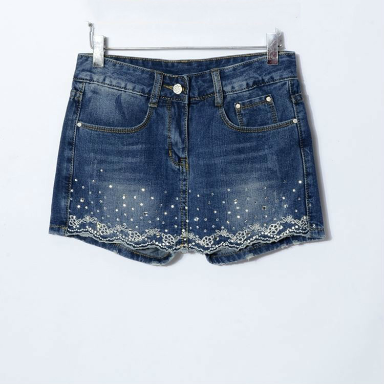 New 2019 Summer Denim Skirt Shorts Women Vintage Embroidery Short Jeans Female Fashion High Waist Jeans Shorts Skirt Feminino