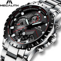 MEGALITH Men's Watch Top Brand Luxury Chronograph Military Sports Quartz Watches Business For Men Stainless steel Strap Clock