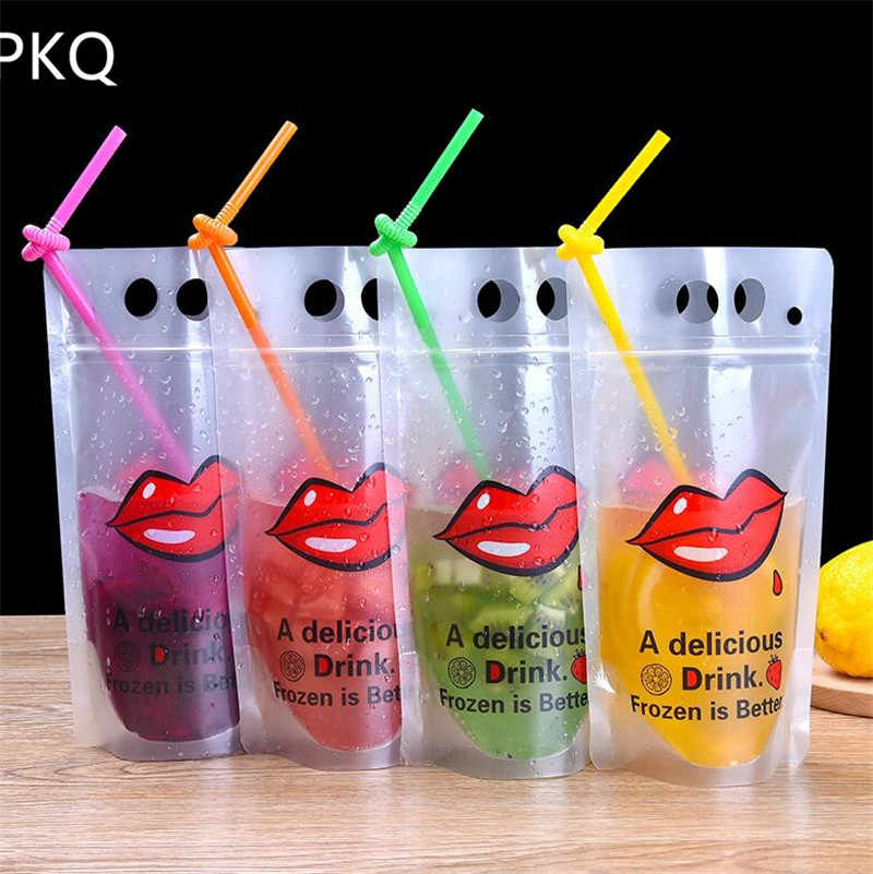 13x22cm 500ml Stand-up Plastic Drink Packaging Bag Spout Pouch for Beverage Liquid Juice Milk Coffee Disposable Packing bag