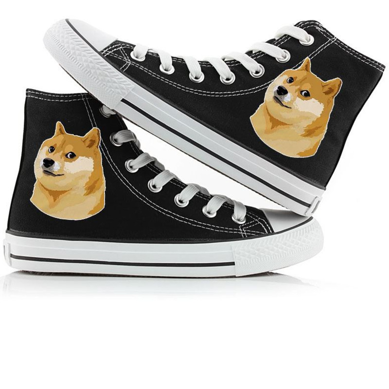 Men's Vulcanize Shoes Cute Dog 3d Print Skateboard Shoes Shiba Inu High Top Canvas Boots Doge Casual Vulcanize Shoes Designer Male Flat Shoes A9021 Lovely Luster