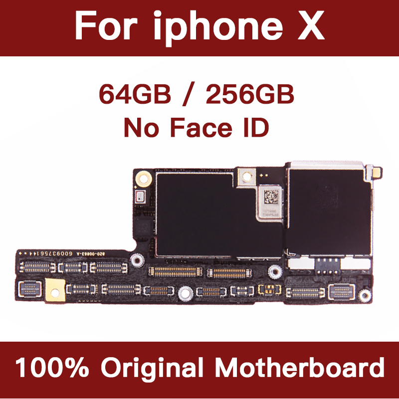 100% Original Motherboard For IPhone X Mainboard Factory Unlock No Face ID With Full Chips IOS System Logic Board Good Working