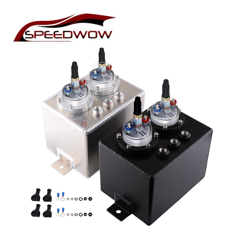 SPEEDWOW 3L Universal Dual Billet Aluminum Fuel Surge Tank Oil Catch Can Surge Tank With 2pcs 044 External Fuel Pump