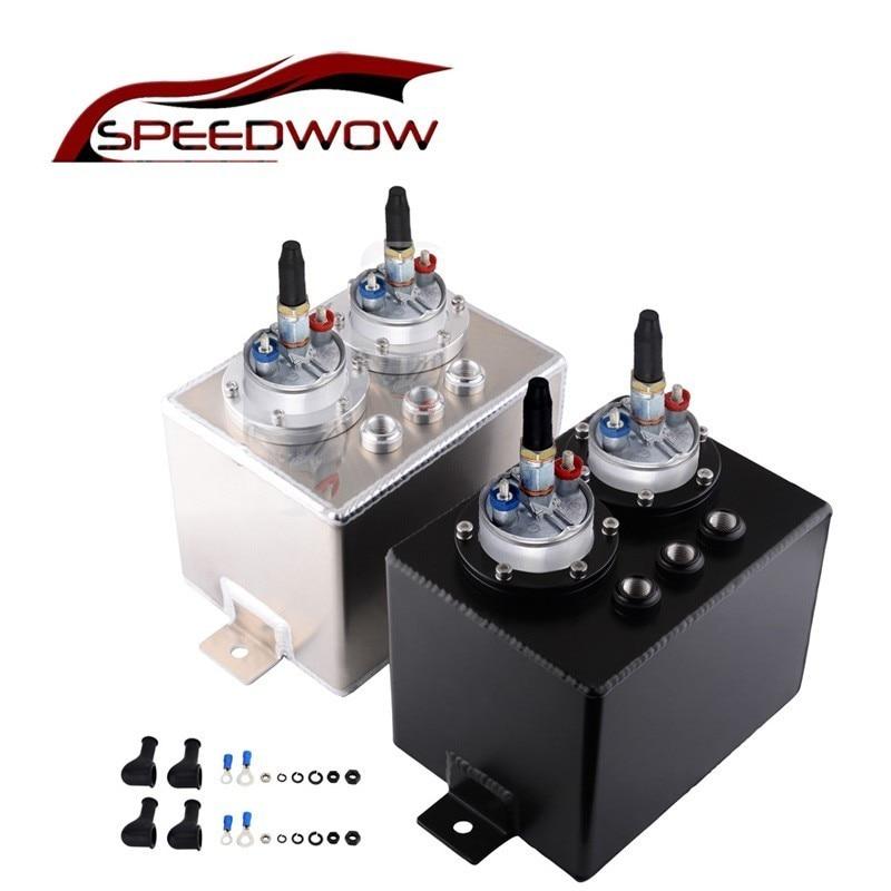 SPEEDWOW 3L universel double billette en aluminium réservoir de surtension réservoir d'huile peut surtension réservoir avec 2 pièces 044 pompe à carburant externe