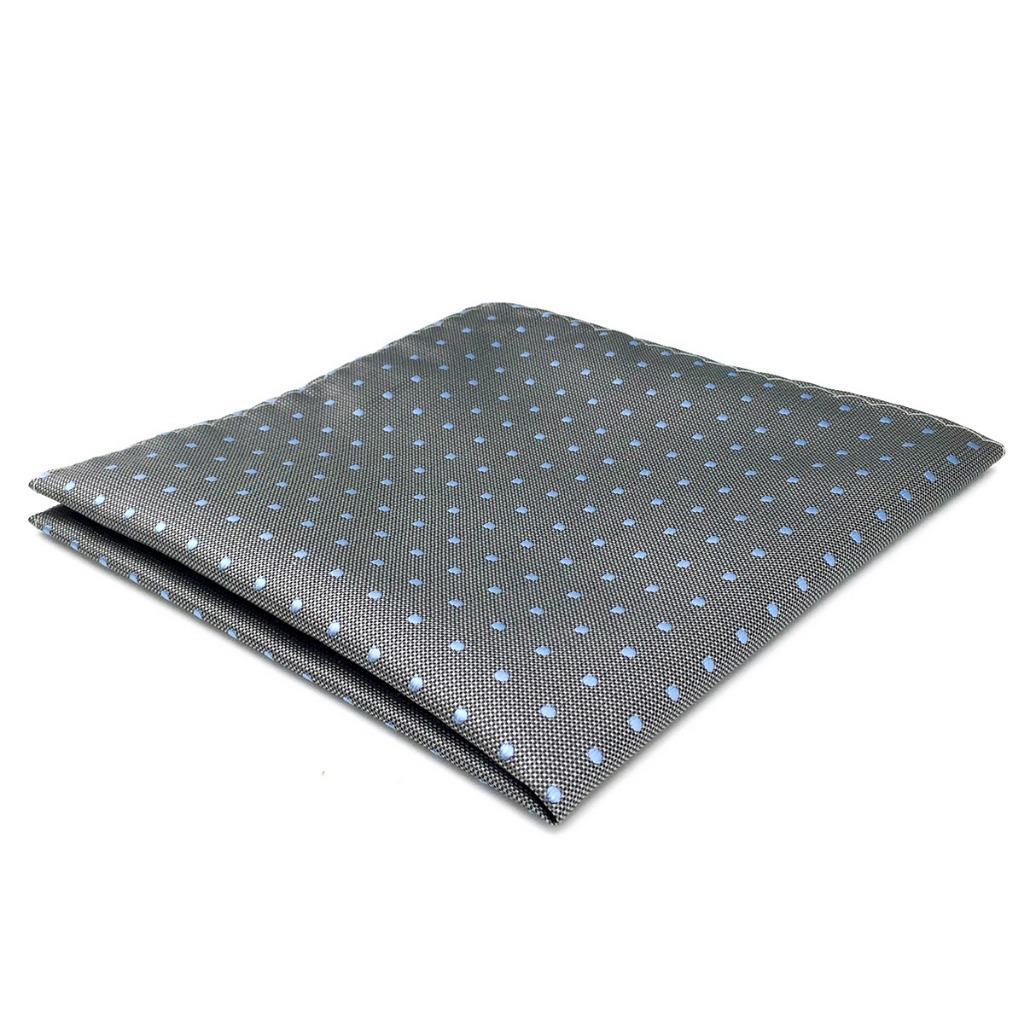 DH21 Grey Polka Dots Mens Pocket Square Silk Fashion Dress Wedding Handkerchief Groom Novelty