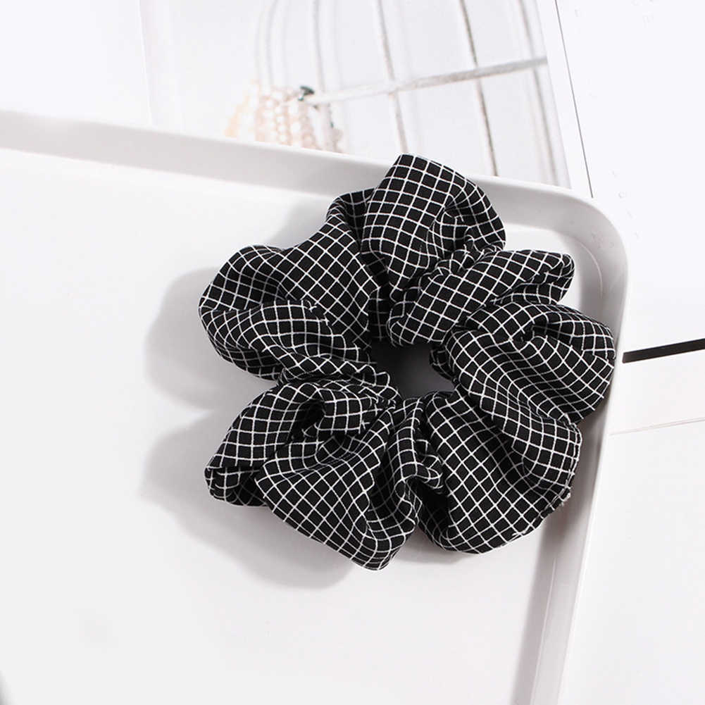 1pc Elasticity Scrunchies New Ponytail Holder Hairband Hair Rope Tie Fashion Plaid Hair Rings for Women Girls Hair Accessories