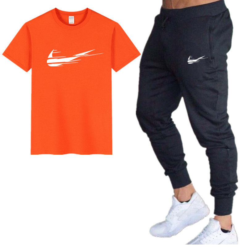 Harajuku Men's Sets T Shirts+Pants Men Brand Clothing Two Piece Suit Tracksuit Fashion Casual Tshirts Gyms Workout Fitness Sets