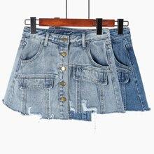 Denim Skirt High Waist A-line Pockets Ripped  Mini Skirts Women 2019 New Summer Vintage Single Button Blue Sexy Jean Skirt