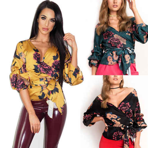 5a1af9889c7432 ... 2019 Spring New Women Sexy Off Shoulder Floral Tops Wrap Over Satin  Casual Party Shirt Blouse ...