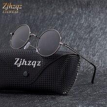ZJHZQZ Steampunk עגול משקפי שמש מותג מעצב קלאסי אנטי Uv מקוטב מתכת מסגרת קטן בציר רטרו ג ון לנון משקפיים