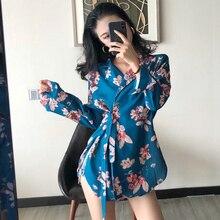 #5314 Spring Long Sleeve Bow Bandage Chiffon Loose Kimono Cardigan Shirt For Women Floral Printed Japanese Femme