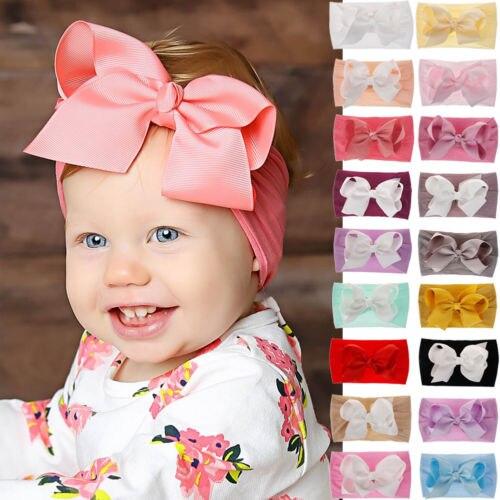 Toddler Girls Kids Baby Big Bow Hairband Headband Stretch Turban Knot Head Wrap