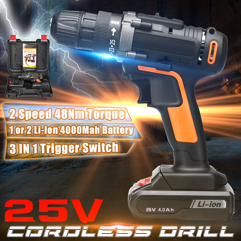 25V Electric Drill Two Speed Lithium Battery Rechargeable Cordless Drill Multi-function Electric Cordless Screwdriver25V Electric Drill Two Speed Lithium Battery Rechargeable Cordless Drill Multi-function Electric Cordless Screwdriver
