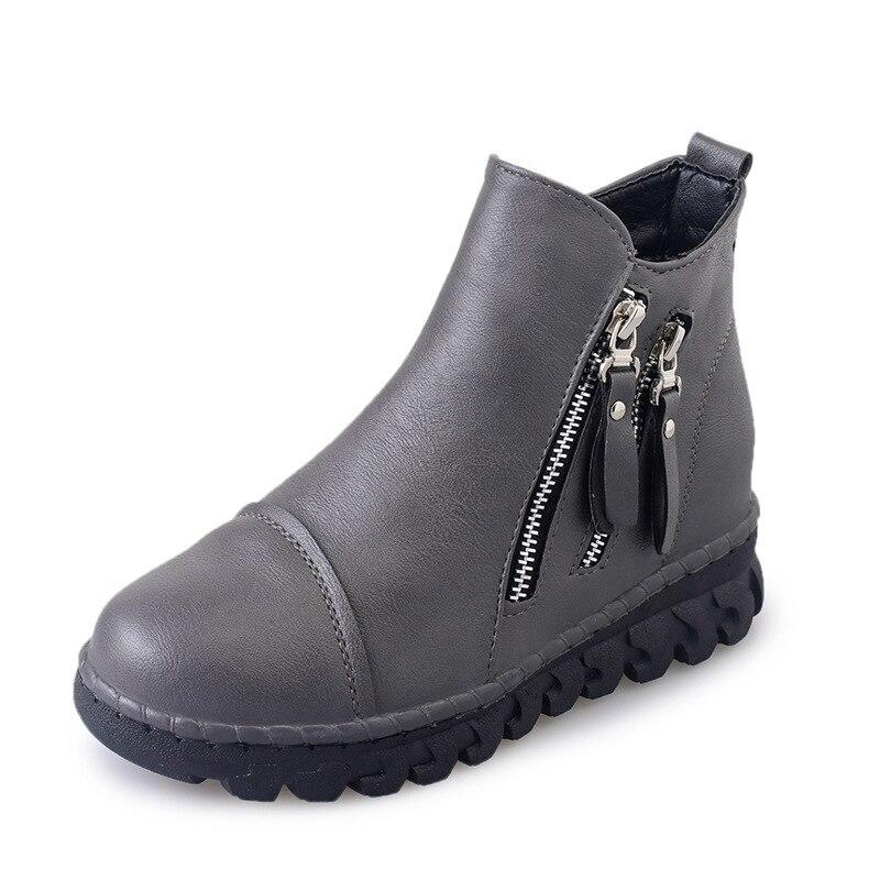 Invierno Las gray Mujer Dos Botas Mujeres Retro La Lados Tobillo Zapatos Genuino Black Martin De Nieve 2019 Moda Cuero UwxSnqfx
