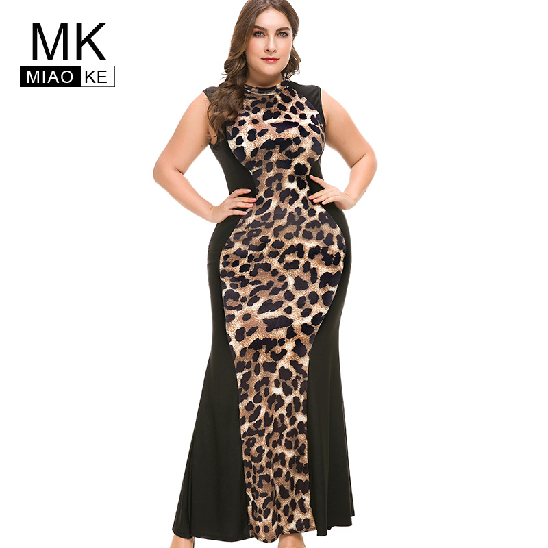 c47e8d8f0e Wipalo Plus Size Sexy V Neck Leopard Dress Women Long Sleeves Ankle ...