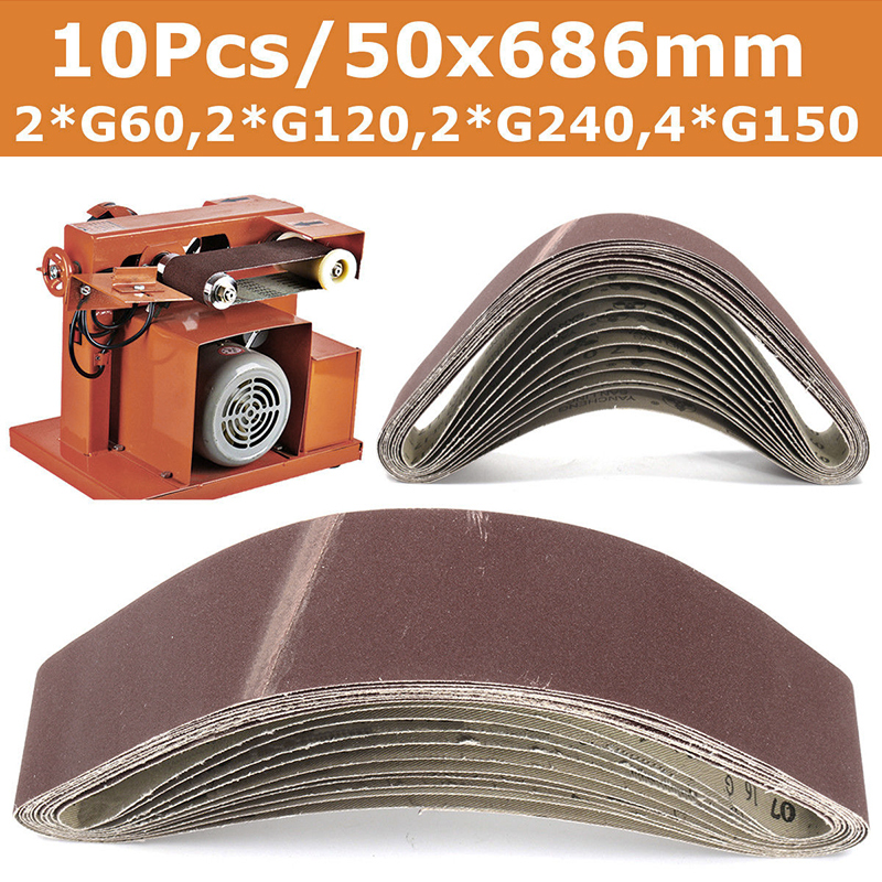10pcs Sanding Belts for Grinding Polishing Mixed 60/120/150/240 Grit 50 x 686 mm