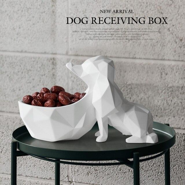 עיצוב הבית אביזרים שולחן שרף בעלי החיים פסל ממתקי מלאכות אגוז מפתח טלפון אחסון תיבת שרף כלב צלמית