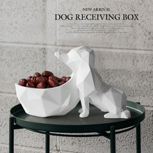 home decoration accessories for living room table resin Animal statue Crafts candy nut key phone storage box resin dog figurine