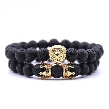 King Lion Natural Stone Bead Bracelet Men