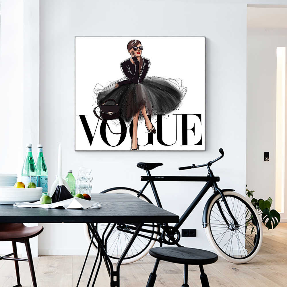 LECHAO Quadro Fashion Figure Posters And Prints Vogue Wall Pop Art Painting On Canvas Picture Home