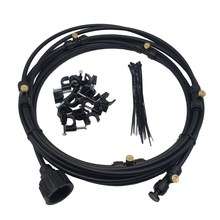Black Outdoor Misting Cooling System 1 Set for Garden Flowers Watering Irrigation Fog spray Lines 6 M~18 M fog