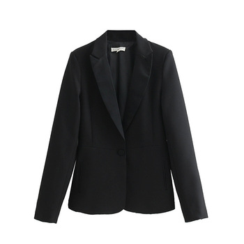 PEONFLY New Spring 2019 Black Designer Blazer Jacket Women Long Sleeve Office Lady Single Button Blazer Overcoat Femme