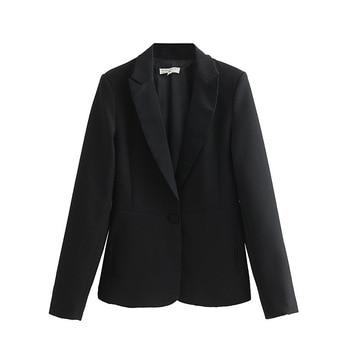 PEONFLY New Spring 2019 Black Designer Blazer Jacket Women Long Sleeve Office Lady Single Button Blazer Overcoat Femme