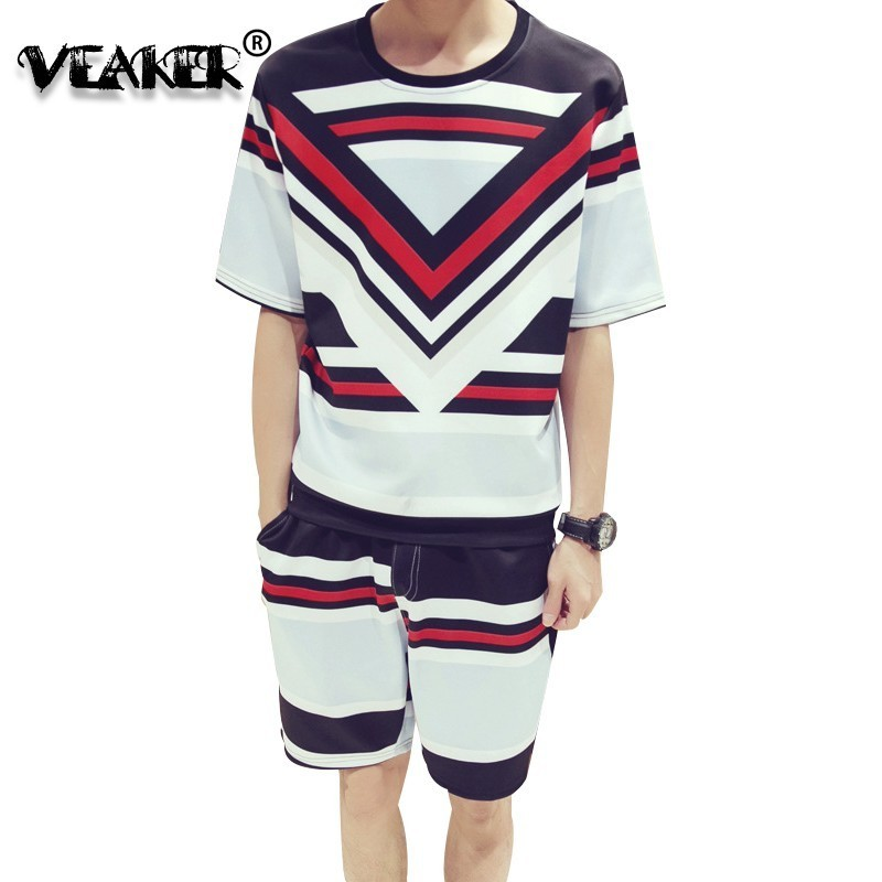 2019 New 2 Pic Summer Short Sets Men Casual Coconut Island Printing Suits Stripe Men Korean Style Suit Sets T Shirt +Pants M-5XL