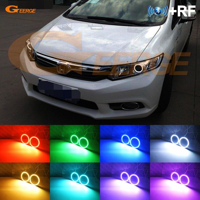Pour Honda Civic Sedan 2012 2013 2014 2015 xénon phare RF Bluetooth contrôleur multicolore RGB led angel eyes kit