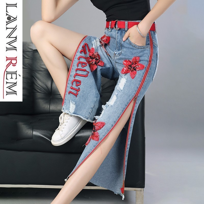 Personnels longueur Jeans Nouvelle Paillettes Latérale Pantalons Pantalon Printemps Droite Yf679 Lanmrem Bleu Broderie En Glissière À 2019 Large Bas Cheville Mode qxn67wwPS