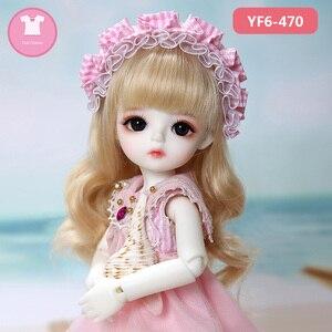Image 1 - 1/6 bjd sd 인형 옷 분홍색 또는 흰색 격자 티셔츠와 검은 색 청바지 yosd 바디 인형 액세서리 귀여운