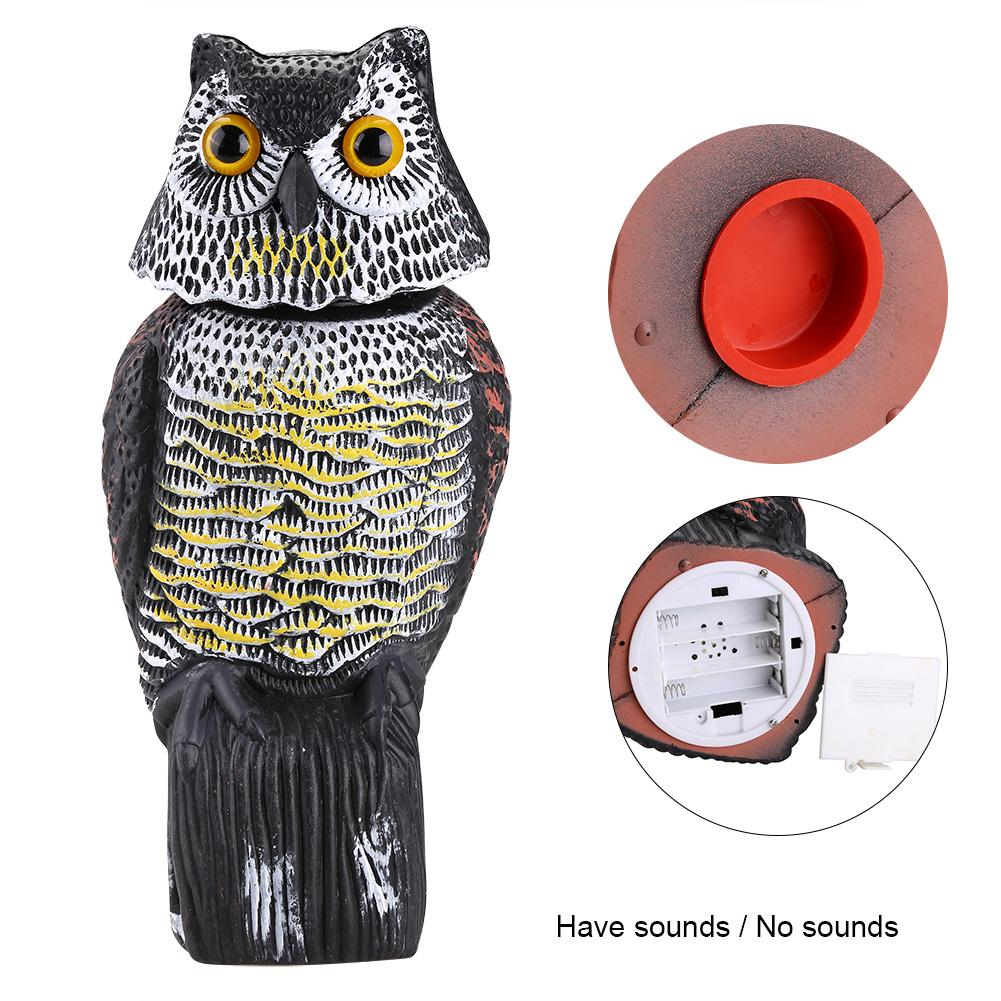 Image 2 - Realistic Bird Scarer Rotating Head Sound Owl Prowler Decoy Protection Repellent Bird Pest Control Scarecrow Garden Yard Move-in Repellents from Home & Garden