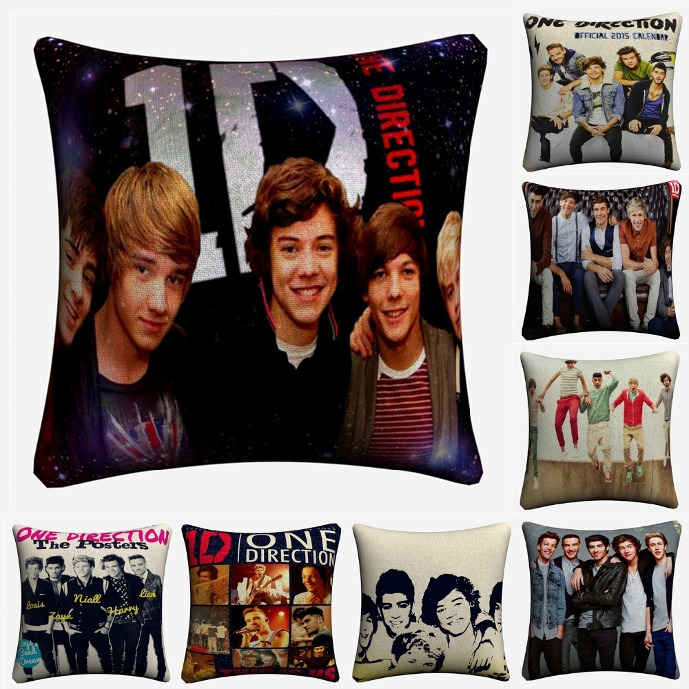 One Direction Singer Team Figures 1D Cotton Linen Cushion Covers 45x45cm Soft Pillowcase For Sofa Chair Home Decor Almofada in Cushion Cover from Home Garden