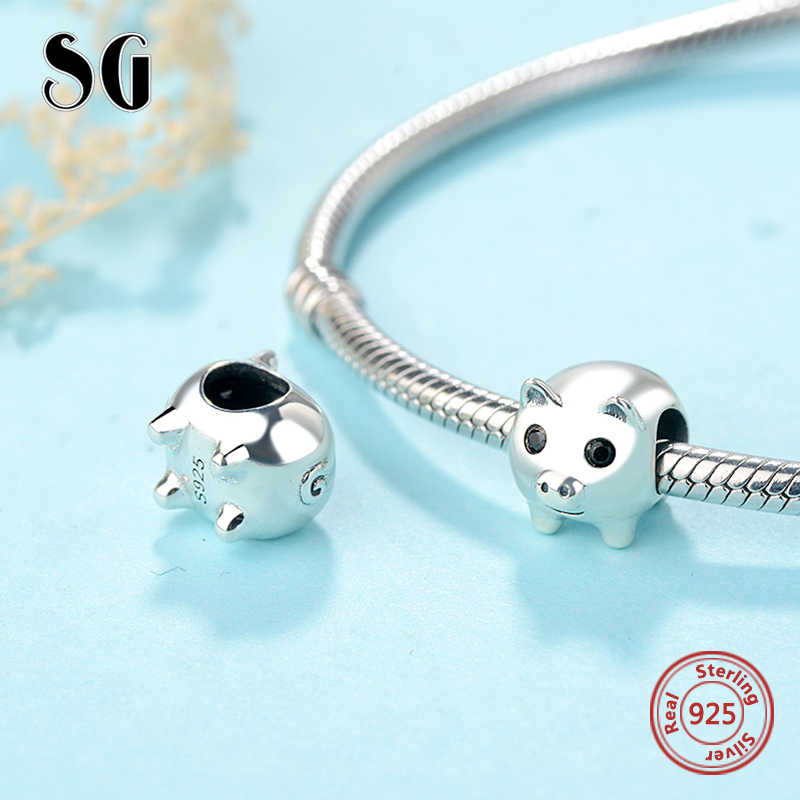 3c409481d ... SG Fit Original European bracelets Sterling Silver 925 personalized  Cute pig animal beads animal charms Jewelry