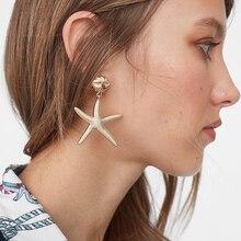 New Ocean Style Starfish Shape Drop Earring For Women Gold Color Alloy Geometric Dangle Earring Za Wedding Statement Jewelry gothic style dragon shape earring