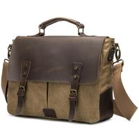 Portable Briefcase Men's Messenger Bag Canvas With Leather Shoulder Bags Postman Handbag Crossbody Bag Boys Laptop Bags