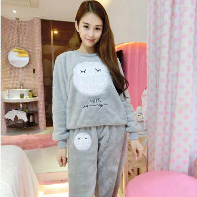 e7669fce42 ... 2018 New Korean Autumn Winter Women s Coral Fleece Nighty Sleepwear  Cute Cartoon Thick Large Size Comfortable ...