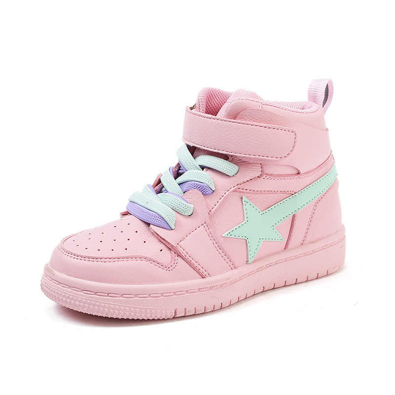 New Pattern Girl Sneakers Children High Top Warm Winter Small White Shoes  Colorful Patchwork Tennis Tranier 6290f7137e2