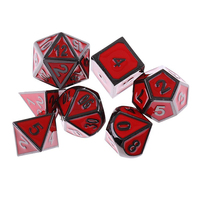 Mayitr 7Pcs/Set Multi Sides Dice Red Antique Metal Polyhedral Dice For DND RPG MTG Role Playing Game
