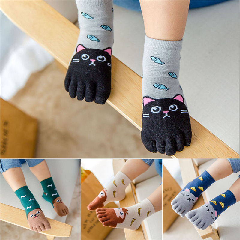 Children's Finger Socks Toddler Baby Kids Girls Boys Cartoon Animal Five Fingers Sock Hosiery Toe Sock 1 Pairs Cute Baby Socks