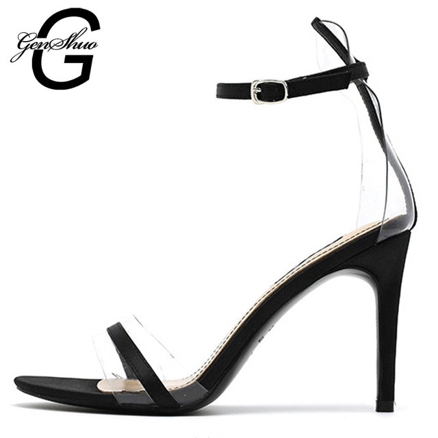 GENSHUO Shoes Woman Summer Sandals Gladiator Ankle Strap Zapatos de Mujer Elegant Satin Prom Dance Shoes For Boutique Ladies