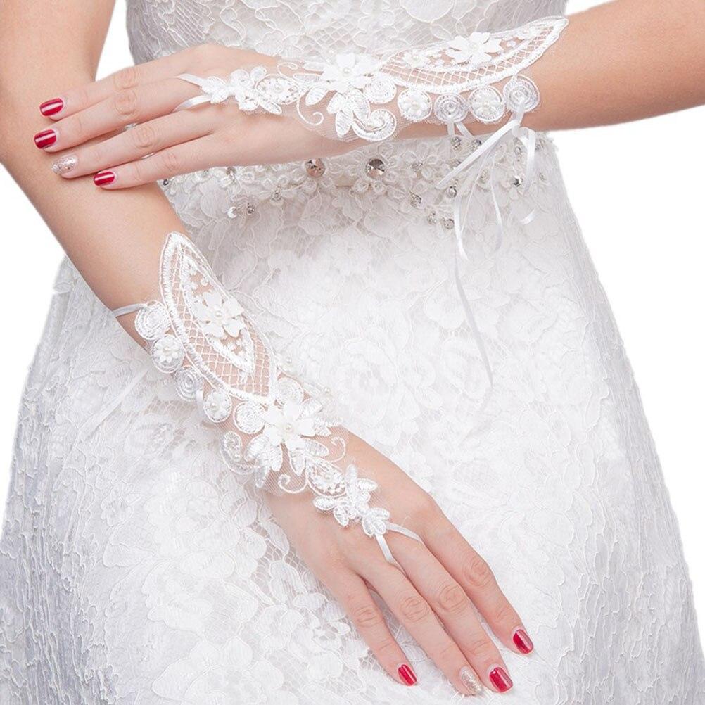 1 Para Braut Handschuhe Spitze Mode Aushöhlen Blume Tau Finger Bandage Handschuhe Kleid Zubehör Hochzeit Dekorationen