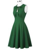 Women's Vintage Dark Green Sleeveless Dress Tied Neck A line Party Picnic Dress